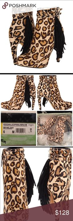 "BNIB Sam Edelman Keegan Leopard Tassel Boot Size 6 BRAND NEW IN BOX, Retail $195 Size 6. Color: Leopard/Black  Rock these Sam Edelman Keegan fringed ankle boots with everything from jeans, denim shorts to trendy dresses!  100% Suede Imported Synthetic sole Shaft measures approximately 6.25"" from arch Heel measures approximately 4.25"" Platform measures approximately 1 inches Boot opening measures approximately 11.25"" around Genuine Suede Leather Upper or Pony Hair Fringed Ankle Collar…"