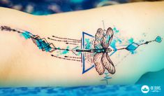 Tattoo aquarela: Libélula - Watercolor dragonfly tattoo ~ De duas, uma | Design, Ilustrações e Tattoos