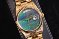 Stardust:  Even in a sea of diamond-covered watches, this is a lot of watch. The case is 18-karat yellow gold—though it looks like it has a slight pink tint to it from age—and the dial is opal. The dark gold printing on the dial adds a little texture, and in the right light this watch almost glows.
