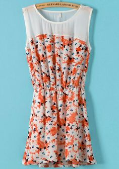 Orange Sleeveless Contrast Chiffon Floral Pleated Dress US$19.25