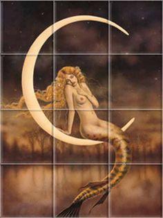 mermaid tiles   The Waning Moon Tile Mural Mermaid Collection