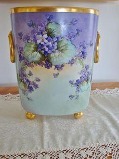 Antique Limoges France Hand Painted Porcelain Cachet Pot- Vase ~ Pansies and Violets~ Fine Porcelain, Porcelain Ceramics, Painted Porcelain, Ceramic Bowls, Ceramic Art, Antique China, Vintage China, Limoges China, Sweet Violets