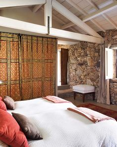 This splendid bohemian stone cottage in Portugal has been beautifully decorated by talented interior designer Marta Mendes Espregueira. Stone Cottages, Stone Houses, Portugal, House Design Photos, Terrazzo Flooring, Boho Stil, Bohemian Interior, Bohemian Design, French Country House