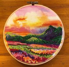 Mountain hoop for my mom's birthday 🌄 – Embroidery - Stickerei Ideen Hayao Miyazaki, Patience, Chef D Oeuvre, Gota, My Mom, Les Oeuvres, Sculpture Art, It Is Finished, Embroidery