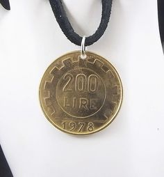 Italian Coin Necklace 200 Lire Coin Pendant by AutumnWindsJewelry