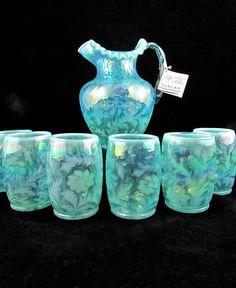 Fenton Daisy & Fern Aqua Opalescent Drink Set Water Pitcher Tumbler  #fenton  #Daisy&Fern #Opalescent