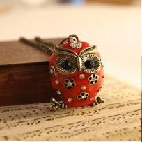 "Vintage Style Long Red Enamel 28"" Owl Necklace! Free S/H No Buyer Fees"