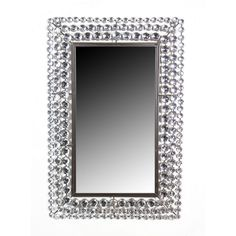 "$ 115 - Metal Rectangle Wall Crystal Jewel Mirror - Adorno Home - 30""H, 20""W.  http://www.adornohomedecor.com/metal-rectangle-wall-crystal-jewel-mirror/"