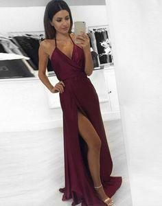 Sexy Maroon Prom Dress - Halter Sleeveless Floor Length with Split
