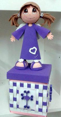 Lindo angelito para centro de mesa.  Este diseño fue para un Bautizo de una bella recién nacida.