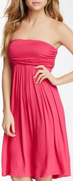 Strapless Empire Waist Dress....and what a gorgeous colour ♡♡