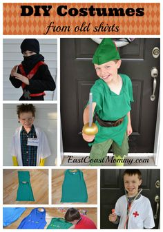 DIY Costumes Made from Old T-Shirts. FANTASTIC for Halloween or a dress up bin!