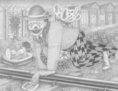 Train Tracks with Clown and Belt #pencildrawing #surreal #fantasy
