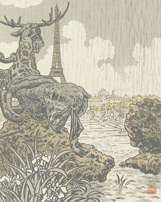 Behind Frémiet's Elk (Trocadéro) (Derrière l'élan de Frémiet (Trocadéro)), 1902, Henri Rivière, Van Gogh Museum, Amsterdam (Vincent van Gogh Foundation)
