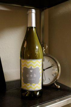 Printable Chevron Wedding Wine Bottle Labels  - You Choose Color - LOVELY LITTLE PARTY