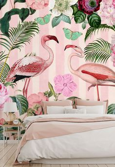 Bring vivid colour to your surroundings with these beautiful pink wallpapers. Featuring clashing greens and pink, these jungle wallpapers are great for bringing your decor up to date. Find more home inspiration from Wallsauce. We have a large collection and a free delivery service! Click to find out more! #colourfulhomes #homeinspiration #wallpaper #wallmural #pink #pinkwallpaper #junglewallpaper #pinkaesthetics Flamingo Wallpaper, Tropical Wallpaper, Pink Wallpaper, Colorful Wallpaper, Bedroom Wallpaper, Wall Wallpaper, Tropical Girl, Estilo Tropical, Custom Wall Murals