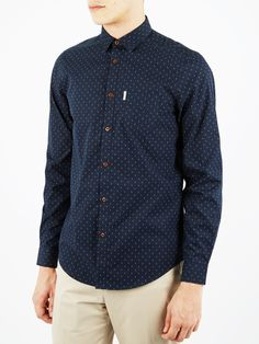 Double Spot Long Sleeve Shirt | Navy Blazer | Ben Sherman