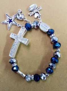 Dallas Cowboys Cross Charm Bracelet by ToshiesJewelry on Etsy Dallas Cowboys Crafts, Dallas Cowboys Memes, Dallas Cowboys Outfits, Dallas Cowboys Football, Cowboys 4, Pittsburgh Steelers, How Bout Them Cowboys, Cowboy Gear, Rings