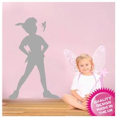 Peter Pan and tinkerbell silhouette vinyl wall by circlewallart, £19.99
