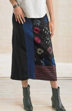 Kollam Skirt - Navy/Black/Multi  Handprinted chindis, mixed media jersey and woven. Midi length flatters all with pull-on wide waistband and gentle A-line styling. Cotton lycra fabric provides a hint of stretch.