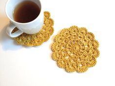 Saffron Crochet Coaster Set of 2 coaster kitchengreen by allapples, $10.90