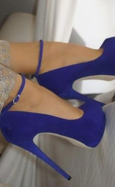 blue suede platform ankle strap pumps