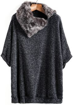 Jersey punto suelto combinado piel-gris oscuro