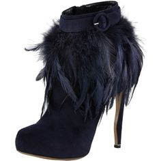 Nicholas Kirkwood Feather-Trim Suede Bootie ($972) ❤ liked on Polyvore featuring shoes, boots, ankle booties, heels, booties, ankle boots, heeled booties, short boots, high heel ankle boots and high heel booties