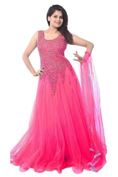 Net Party Wear Gown in Pink Colour.It is crafted with Embroidery...