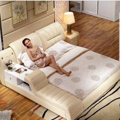 Nowoczesne meble do sypialni hamak miękkie prawdziwej skóry na łóżko 6219 Modern Master Bedroom, Bedroom Bed Design, Modern Bedroom Furniture, Bed Furniture, Home Decor Bedroom, Queen Size Storage Bed, Bed Frame With Storage, Sofa Design, Leather Bed