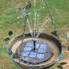 One piece solar fountain is simple to set up and use! Pump, panel and fountain are all attached, no cords, wires or panel to install. New style is slightly smaller with improved pump. Six-inch diamete