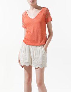 LINEN T-SHIRT WITH LACE BACK - T-shirts - Woman - ZARA Canada