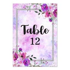 Purple Floral & Silver Frame Wedding Table Numbers - romantic wedding gifts marriage party idea cyo custom
