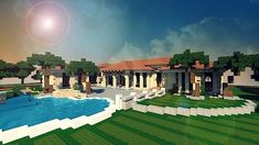 Mediterranean Estate Minecraft house ideas 2. I wish they would take the pic without a texture pack...