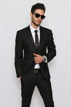 Slim Fit Men Suit Trim Collar Black 2 Button Flat Front Pants Slim Style Suit More Fashion at www.thedillonmall.com Free Pinterest E-Book Be a Master Pinner http://pinterestperfection.gr8.com/