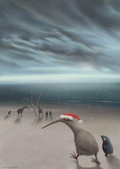 В начале августа когда у нас лето, в Новой Зеландии - зима. На самых южных островах нелетающие птичи, как и положено зимой, празднуют рождество: просто собираются вместе и тупят.