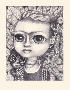 Frida con mono, 2015 Lápiz sobre papel 21x28 cm  #FridaKahlo