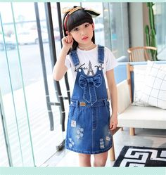 F66078#2017 Latest Fashion Top Design Wholesale Soft Cowboy Girl Decorative Bow Tie Pockets Broken Suspenders Skirt Supplier - Buy Manufature Cowboy Suspenders Skirt,Girls Sexy Suspender Skirt,Kid Jeans Girl Product on Alibaba.com Girls Denim Dress, Girls Jeans, Jeans Dress, Girls Dresses, Fashion Top, Latest Fashion, Kids Fashion, Womens Fashion, Dress Anak