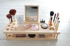 Wood Makeup Organizer Makeup Stand Makeup by AnatolianWoods