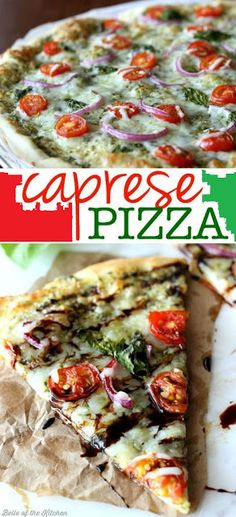 Everything you love about Caprese Salad as a pizza! Made with pesto, tomatoes, red onions, and fresh basil, then topped with a cheesy blanket of mozzarella. Drizzle with balsamic reduction for a delicious finish!