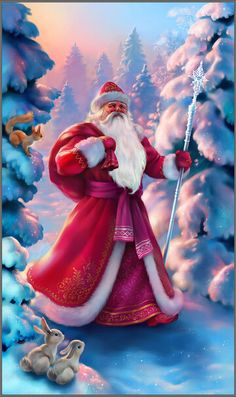 Unlike Santa Claus, russian Ded Moroz uses a sledge with three horses, wears a long coat, red or blue, his beard is longer. Winter Holidays are soon Christmas Scenes, Father Christmas, Christmas Pictures, Christmas And New Year, Winter Christmas, Winter Holidays, Happy Holidays, Illustration Noel, Christmas Illustration