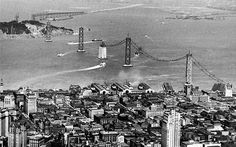 Aerial view of the San Francisco Oakland Bay Bridge under construction in 1935. Photo: San Francisco History Center.