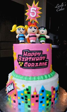 Powerpuff girls cake with smooth buttercream and Marshmallow fondant figurines and decorations. Design Credit to Maira Liboa Cakes