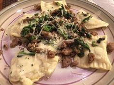 Pumpkin shallot sage ravioli with sauteed sausage and broccoli rabe; brown butter sage sauce
