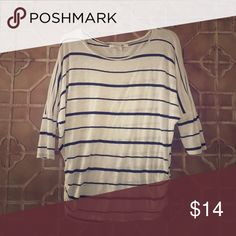 Cute black & white stripes blouse! Good,used condition.No rips or tears! Cute,elbow length sleeves!:) Super comfy! Forever 21 Tops Blouses