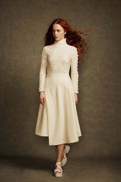 White Cable Knit Sweater and Skirt  - A.W.A.K.E. | Fall 2014 Ready-to-Wear Collection | Style.com