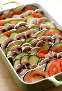 baked vegetables with breadcrumbs and mozarella