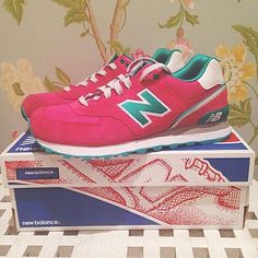 New Balance 574 pink and green trainers @melissa2504