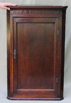 Antique 18th Century, George III, English Hanging Corner Cupboard, NR