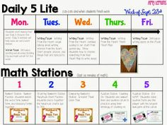 Daily 5 & Math Stations Visual Lesson Plans (September) - FREE Printable example (click here for January example: http://stepintosecondgrade.blogspot.com/2014/01/peek-at-my-week-113.html)